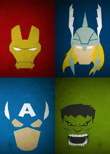 THE AVENGERS - MINIMAL TEAM HEADS - Portrait canvas print - self adhesive poster - photo print